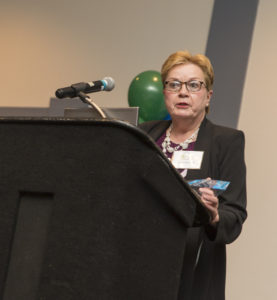 Jane Fumich accepts the Maximum Access Award on behalf of the City of Cleveland Department of Aging.